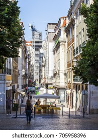 LISBON, PORTUGAL, on June 22, 2017. the cafe under the open sky in a historical part of the city expects visitors