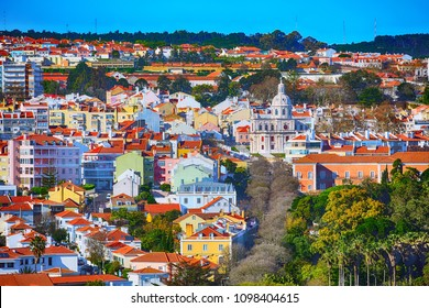 Lisbon, Portugal panoramic aerial view with colorful houses and cathedral