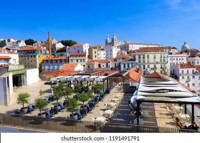 LISBON, PORTUGAL- SEP 20, 2018: Alfama Beautiful Roof City Scape  with cruise ship docked on the Port,  Beautiful Roof City Scape