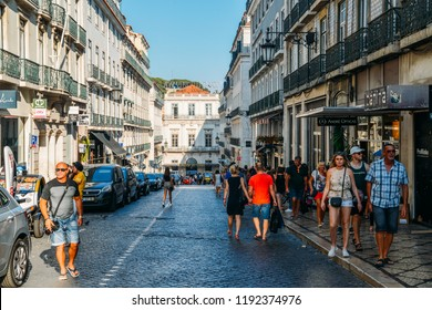 Lisbon, Portugal - Sept 28, 2018: Garrett street with tourists in the heart of the trendy Chiado district of the city