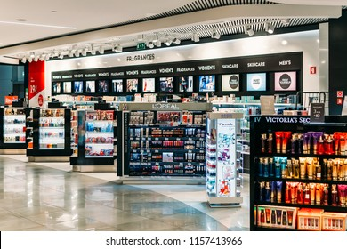 LISBON, PORTUGAL - SEPTEMBER 02, 2017: Women Cosmetic Products And Perfume For Sale In Beauty Shop