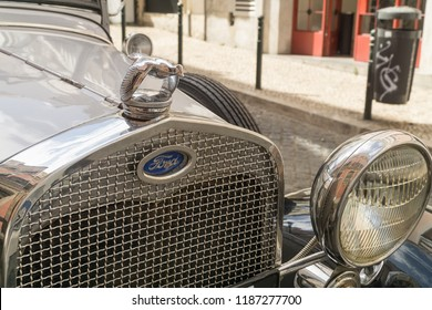 LISBON, PORTUGAL - September 03, 2018: Ford Model A; front view with Ford emblem and Flying Quail Hood Ornament. Close-up.