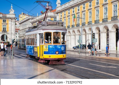 LISBON, PORTUGAL - SEPTEMBER 10. 2017 . Tram on a square Praca de Comercio in Lisbon
