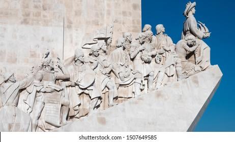 LISBON, PORTUGAL - SEPTEMBER 10,2019: Famous landmrak of Lisbon in Portugal, The Padrao dos Descobrimentos by the Tejo river.