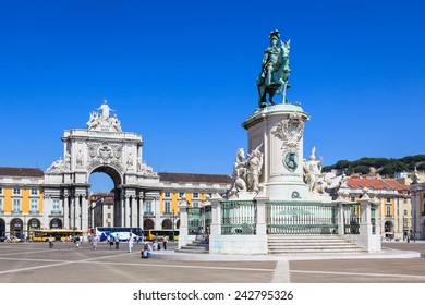 Lisbon, Portugal - September 11, 2010:  Praca do Comercio ( Commerce Square) and Statue of King Jose I in Lisbon, Portugal