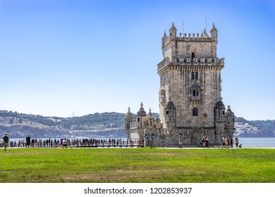 Lisbon, Portugal, September 11, 2018: Peple waiting  in line up to enter Belém Tower UNESCO World Heritage Site