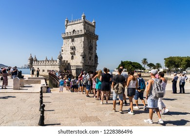 Lisbon, Portugal, September 11, 2018: Line up to enter Belém Tower UNESCO World Heritage Site