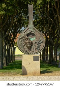 LISBON, PORTUGAL, SEPTEMBER 12, 2018, `Guitarra na Proa `, bronze sculpture by Domingos de Oliveira in honour of Fado music, Bbelem, Lisbon, Portugal, 12 September 2018