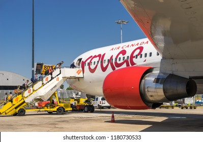 Lisbon, Portugal, September 13, 2018: Passangers boarding Rouge Air Canada flight directed to Toronto