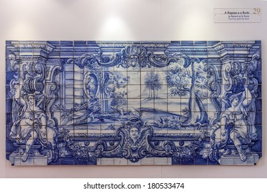 Lisbon, Portugal - September 15, 2013: La Fontaine Fables - The Fox and the Bust illustrated in 18th c. Portuguese Blue Tiles. Sao Vicente de Fora Monastery. Lisbon, Portugal