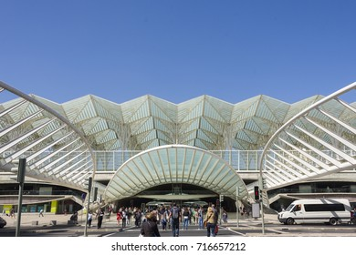 Lisbon Portugal September 15 2017 Oriente railway  was entrusted to the Spanish architect Santiago Calatrava, and it was completed in 1998 for Expo '98