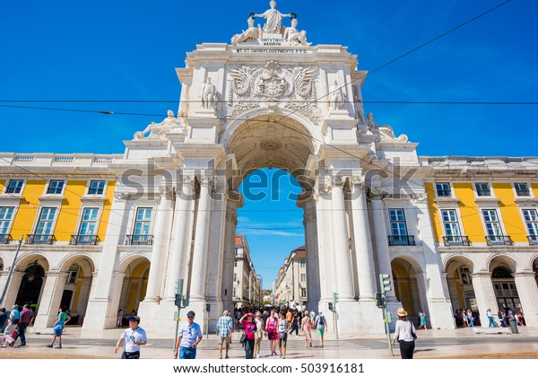 LISBON, PORTUGAL - SEPTEMBER 17, 2016: Commerce square - Praca do commercio in a sunny day