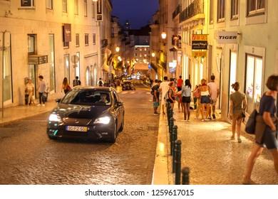 Lisbon, Portugal – September 17, 2018: bustling streets in the historic city center