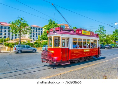LISBON, PORTUGAL, SEPTEMBER 2, 2016: View of a typical tram in lisbon, Portugal.