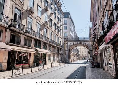 LISBON, PORTUGAL - SEPTEMBER 20, 2019 . Old Lisbon street on a beautiful summer day