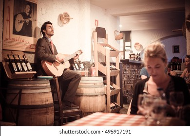 Lisbon, Portugal, September, 2016 : show music of Fado in a restaurant in the city