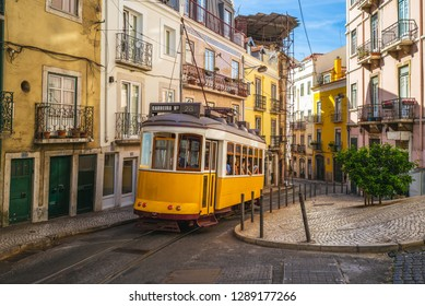 Lisbon, Portugal - september 22, 2018: tram on line 28 in lisbon. The delightful Remodelado trams date from the 1930s  and still in use
