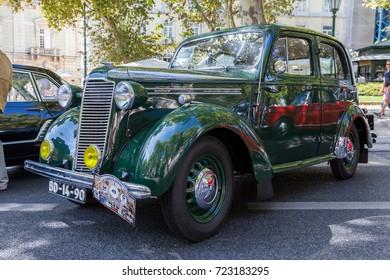 Lisbon, Portugal - september 24, 2017: Reto car show on street of the city. european and american old classic automobiles