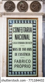 LISBON, PORTUGAL – September 25, 2017: Iconic pastry shop in downtown Lisbon. Translation: National Cofectionery. House established in 1829. More than 180 years of existence. Own manufacture.