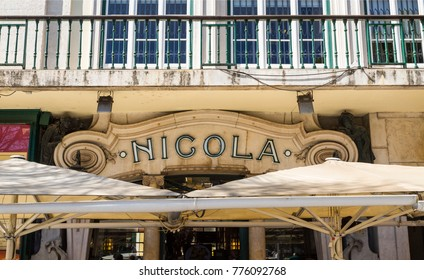 LISBON, PORTUGAL – September 25, 2017: Cafe Nicola has been open since the 18th century and is an old icon of Lisbons history frequented by well-known writers, artists and politicians.