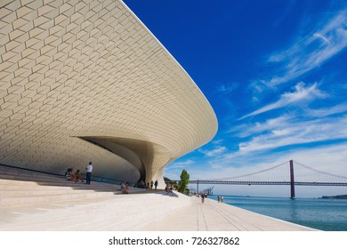 LISBON, PORTUGAL – SEPTEMBER 3, 2017 – View to the Museum of Art, Architecture and Technology (MAAT) and Belem river walk