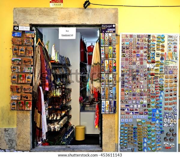 LISBON, PORTUGAL - SEPTEMBER 30, 2015: Little tourist shop in Lisbon, Portugal