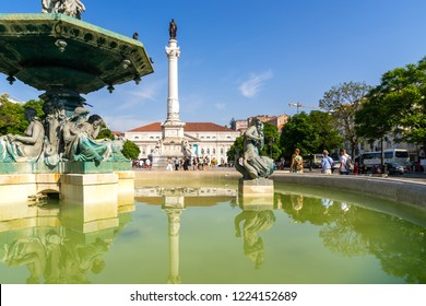 Lisbon, Portugal, September 9, 2018: Rossio Square is the popular name of the Pedro IV Square.