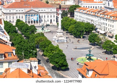 Lisbon, Portugal, September 9, 2018: View to Rossio Square from Bellalisa Elevador  located on top of the Santa Justa Elevator, one of the most famous attractions in Lisbon's downtown.