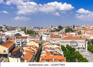 Lisbon, Portugal, September 9, 2018: View to downtown from Bellalisa Elevador  located on top of the Santa Justa Elevator, one of the most famous attractions in Lisbon's downtown.