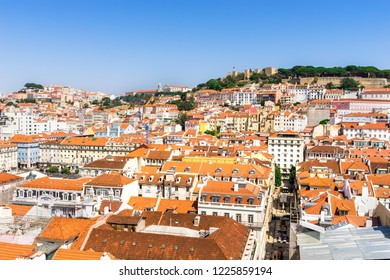 Lisbon, Portugal, September 9, 2018: View from Bellalisa Elevador  located on top of the Santa Justa Elevato to Moorish castle São Jorge Castle occupying a commanding hilltop