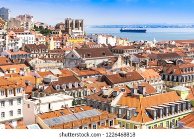 Lisbon, Portugal, September 9, 2018: View to Tagus River from Bellalisa Elevador  located on top of the Santa Justa Elevator, one of the most famous attractions in Lisbon's downtown.