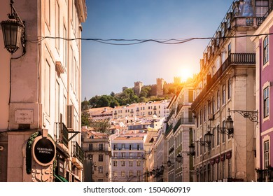 LISBON, PORTUGAL - SEPTEMBER 9, 2019: The historic architecture of Lisbon in Portugal showcasing its building with famous tiles and ancient castles.
