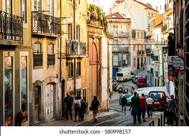 Lisbon, Portugal - Septmember 19, 2016: Street scene in old neighbourhood Mouraria