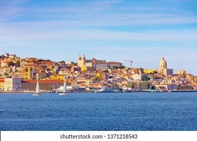 Lisbon, Portugal skyline on the Tagus River
