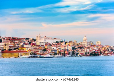 Lisbon, Portugal skyline on the Tagus River.