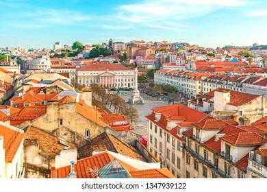 Lisbon, Portugal skyline view over Rossio Square from elevator Santa de Justa. cityscape
