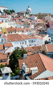Lisbon, Portugal. View of roofs in Alfama