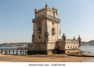 Lisbon, Portugal-August 31, 2018:  Belem Tower or '' Torre de Belem '' is very attractive for tourists in Lisbon.It is a UNESCO world haritage site.