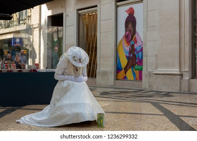 Lisbon, Portugal-August 31, 2018: A street performer in Augusta street in Lisbon, Portugal.