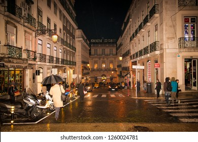 Lisbon, Portugal.-Oct 31, 2018. Beautiful night view of narrow Lisbons street. Portugal.