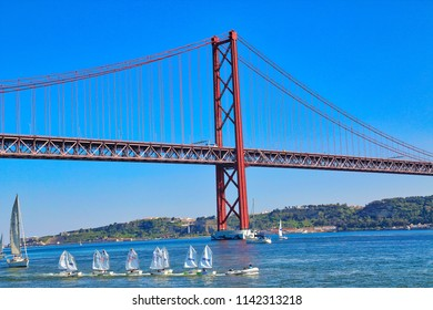 Lisbon, Portugal-October 17, 2017: Landmark suspension 25 of April bridge in Lisbon