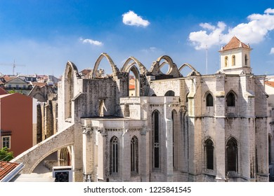 Lisbon, Portugal,September 9, 2018: View from Bellalisa Elevador  located on top of the Santa Justa Elevato to Carno Convent ruined Gothic church