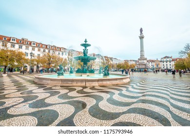 LISBON, PT - MAR 2, 2018: Lisbon, the Portuguese capital: Praça Dom Pedro IV, Praça do Rossio