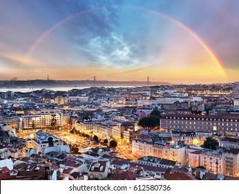 Lisbon with rainbow - Lisboa cityscape, Portugal