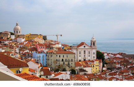 The Lisbon roofs of red tile. Lisbon panoramic view
