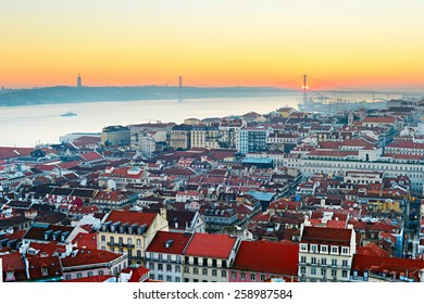 Lisbon skyline in the beautiful sunset. Portugal