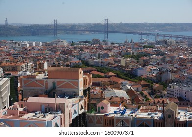 Lisbon skyline and landmarks on a sunny day