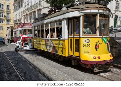 Lisbon, Spain - 20 July 2017: Tram in the streets of Lisabon