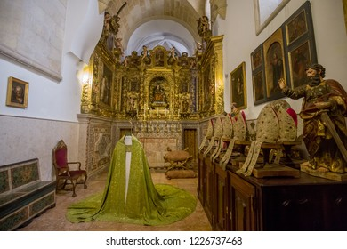 Lisbon, Spain - 20 July 2017: Interior room with bishop cloths and mitre in the  Cathedral of Lisabon