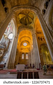 Lisbon, Spain - 20 July 2017: Interior of the  Cathedral of Lisabon